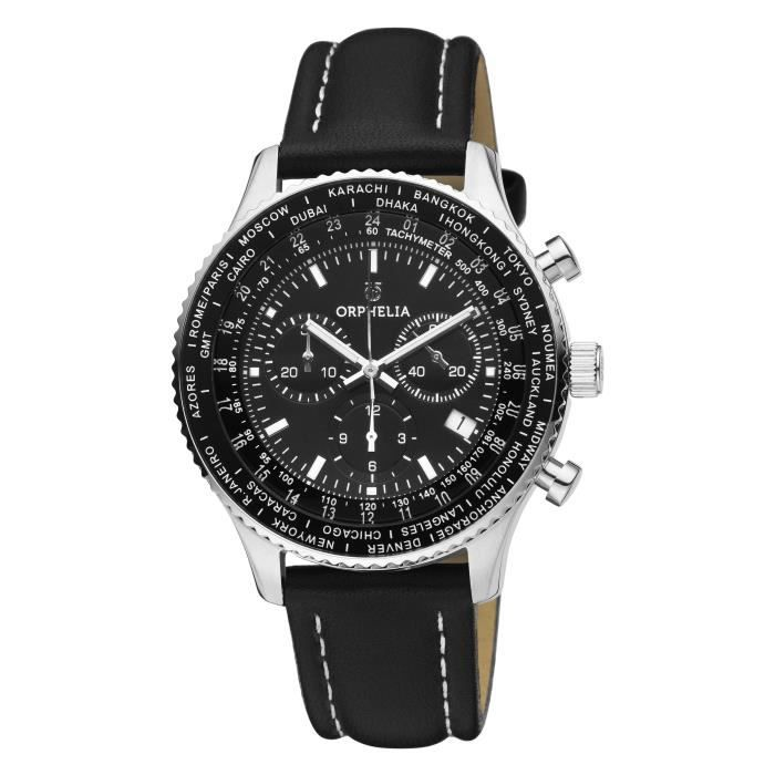 ORPHELIA - Montre Hommes - Quartz - Chronographe - Bracelet en Cuir - Noir - OR81705