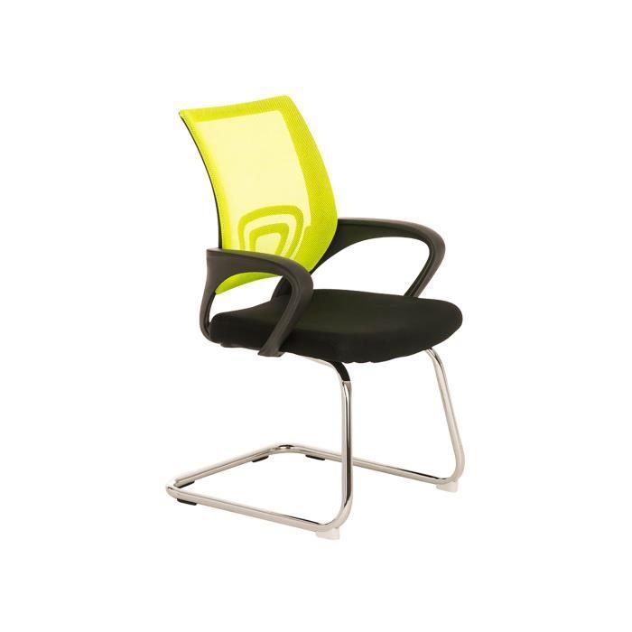 Chaise visiteur en métal avec siège en tissu coloris Jaune/noir - 89 x 58 x 61 cm