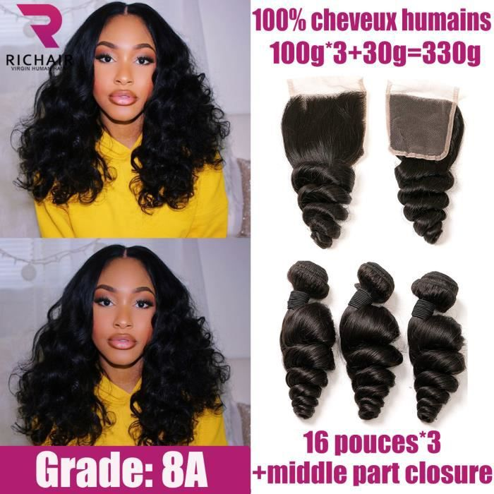 3 tissage bresilien boucle cheveux naturel human hair 16 pouces + CLOSURE 16- loose wave RICHAIR