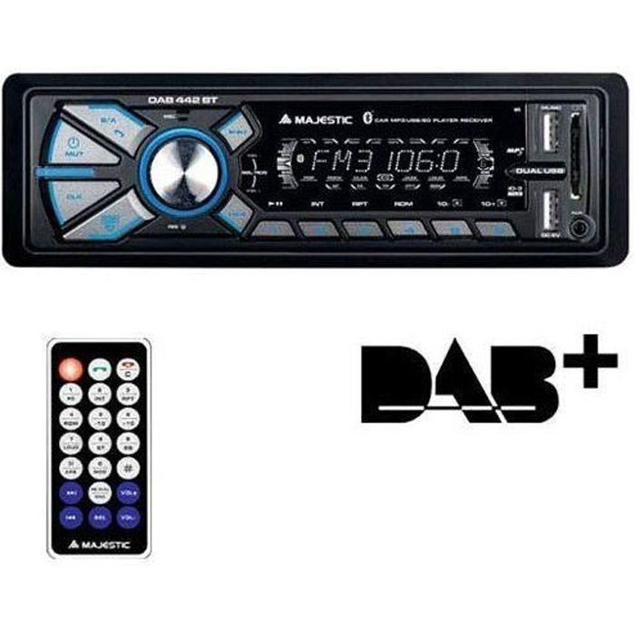 Majestic DAB-442 BT Autoradio RDS FM stéréo/Dab+ PLL, Bluetooth, Double USB, entrées SD/AUX-in, 180 W (45 W x 4 ch), Noir