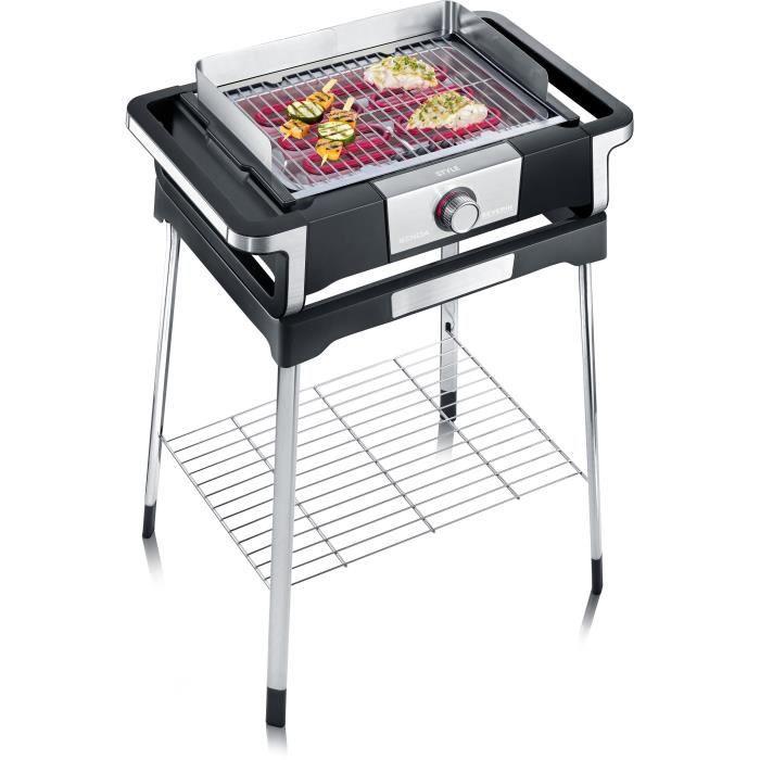 SEVERIN PG8116 Barbecue sur pieds -STYLE S- - 2 500 W - de 0°C à 320°C en 10 min - bac à eau réducteur de fumée et d'odeurs - noir/i