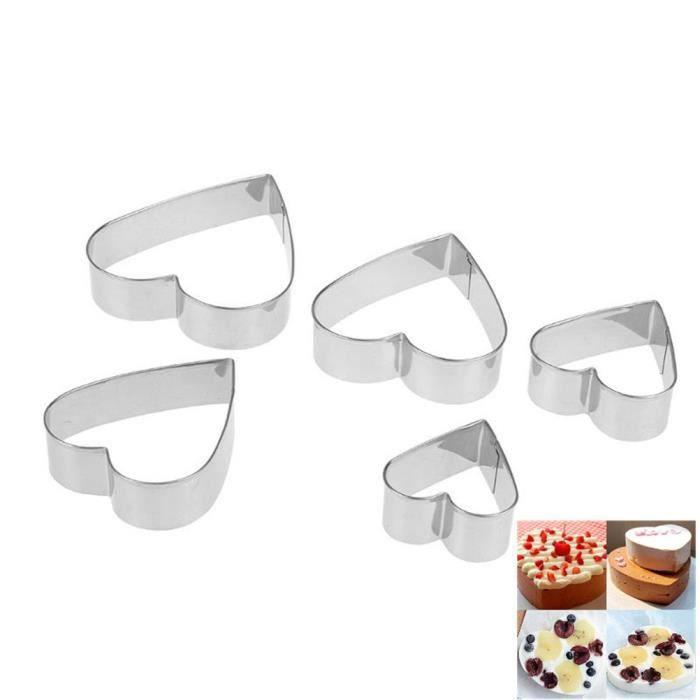 Lot de 5 moules à gâteaux emporte-pièces pour décoration de gâteaux et biscuits, Acier inoxydable, Heart Shape, As