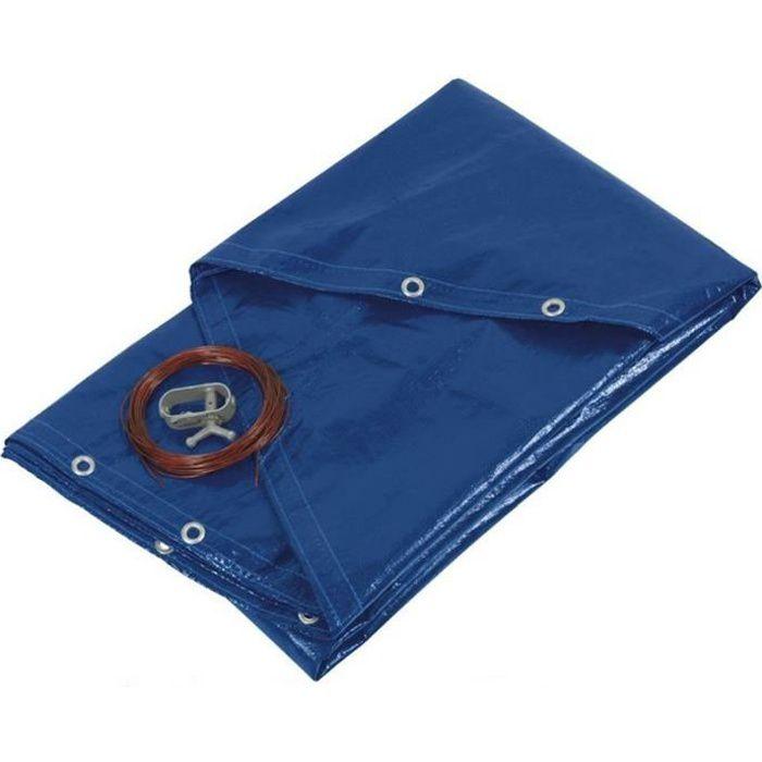 Bâche piscine ronde - diamètre 420 cm pour piscine de 360 cm de diamètre - couleur bleue et verte - 140g/m2 - filet d'écoulement
