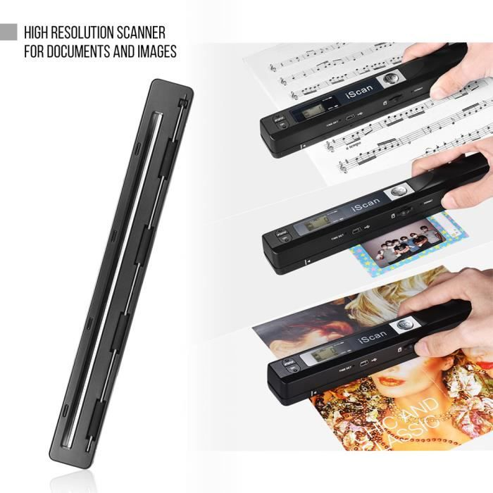 Portable Sans fil Hd Document et Images Scanner A4 Taille 900Dpi Jpg/Pdf Formate Lcd Affichage Noir(Y compris Cd)