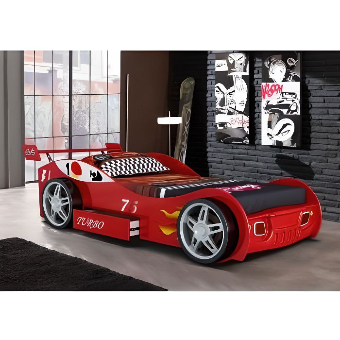 Lit voiture RUNNER avec tiroir - 90x200 cm - Rouge