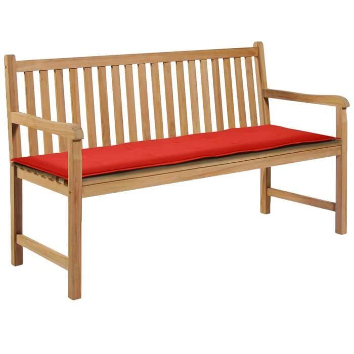 vidaXL Coussin de banc de jardin Rouge 150 x 50 x 3 cm Poids: 0.57