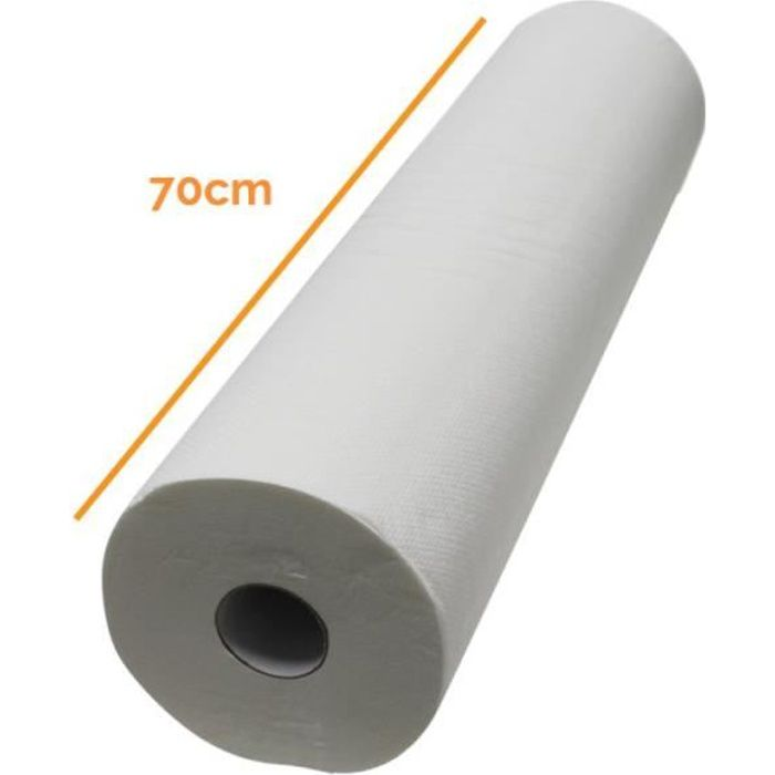 Drap d'examen blanc 70cm x 42m - 34g-m2 double épaisseur aspect gaufré 100% pure ouate
