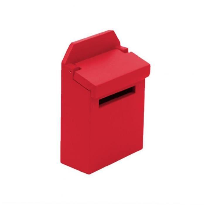 Simulation boîte aux lettres jouet poupée maison accessoires Ensemble mini-boîte en bois pour la décoration rouge
