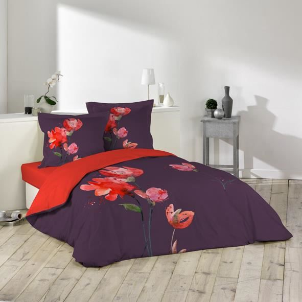 housse de couette 220x240 fleur d 39 t violet achat. Black Bedroom Furniture Sets. Home Design Ideas