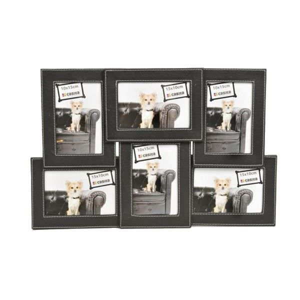 Cadre photo mural multiple en simili cuir achat vente for Cadre multi photos mural