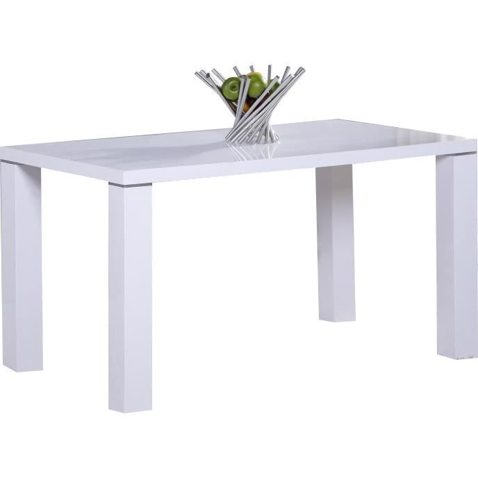 Table de cuisine 130 cm rectangulaire blanc design achat for Table de cuisine rectangulaire