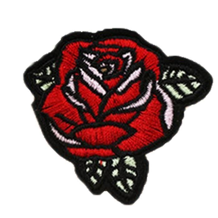 Ecusson brodé thermocollant Rose rouge embroidered patch iron on 6,5 x 7,5 cm