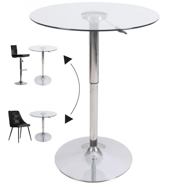 Table de bar ronde ajustable en verre x h d achat vente mange debo - Table de bar en verre ...
