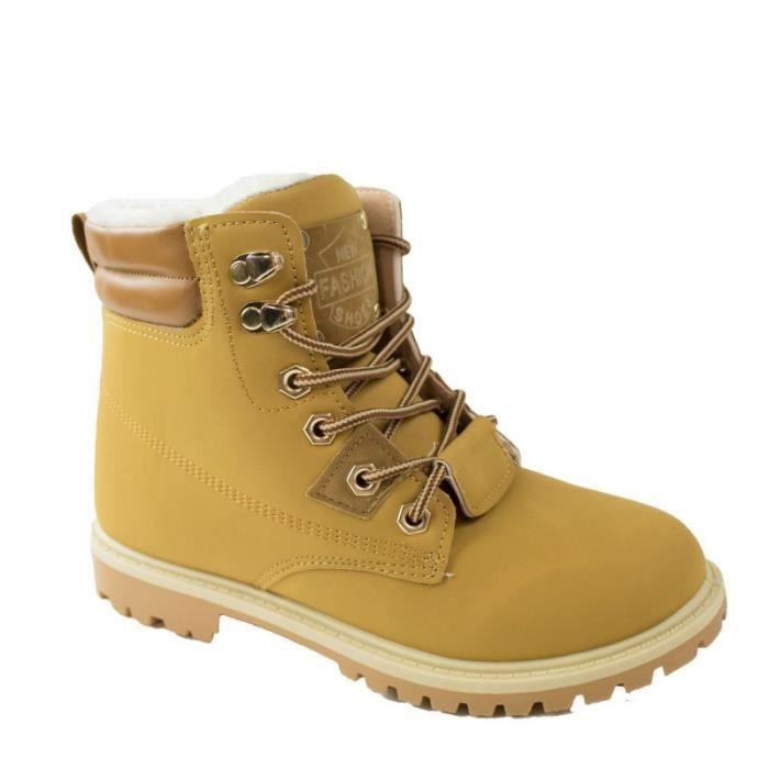 fourrées marron Boots empiècement femme rangers camel PU type camel mvNwn80