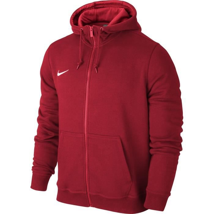 aeb1ff53c62 NIKE Sweat à capuche zippé Team Club Hoody - Homme - Rouge Rouge ...
