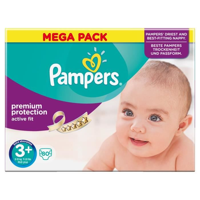 Pampers active fit taille 3 5 10 kg x80 couches format mega pack vert blanc achat vente - Couches pampers active fit taille 5 ...