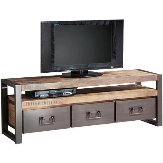 meuble t l teck recycl et m tal 162x40x55cm isis achat vente meuble tv meuble t l en teck. Black Bedroom Furniture Sets. Home Design Ideas