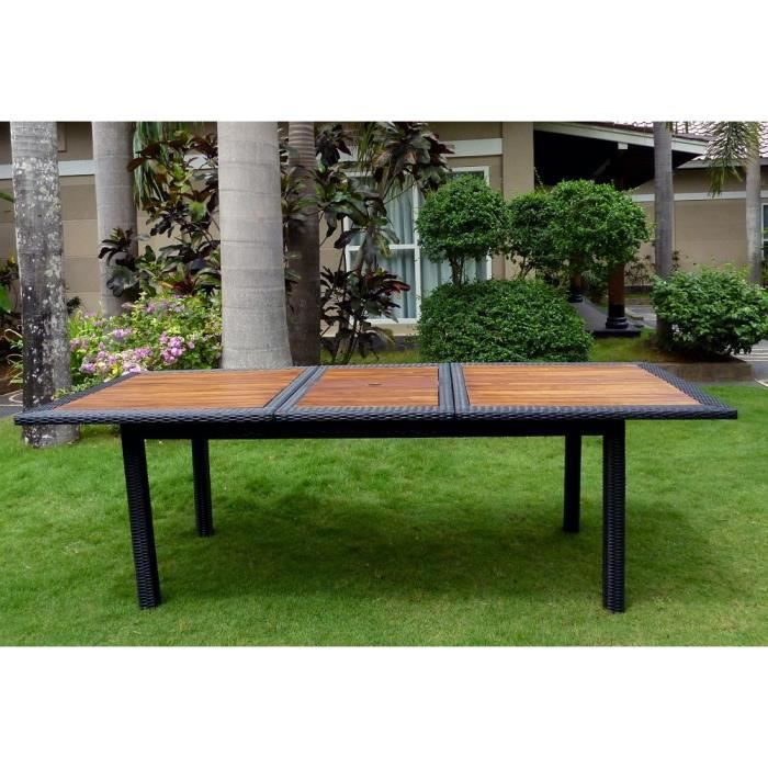 Table de jardin en teck et r sine tress e rectangle - Table jardin en teck ...
