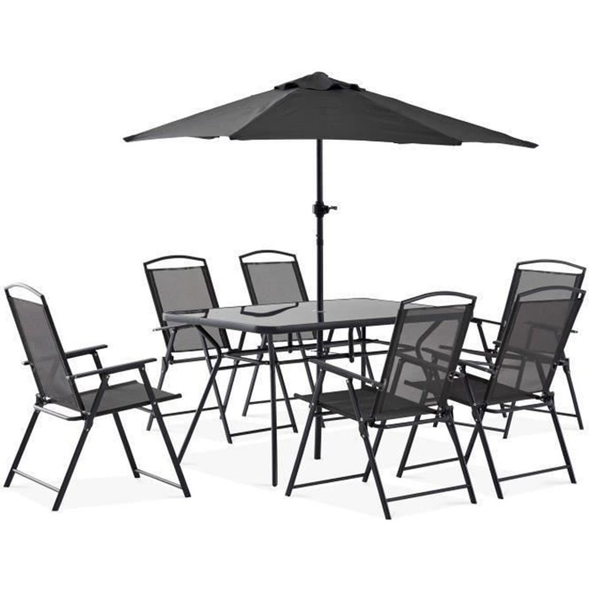 table de jardin avec parasol achat vente pas cher. Black Bedroom Furniture Sets. Home Design Ideas