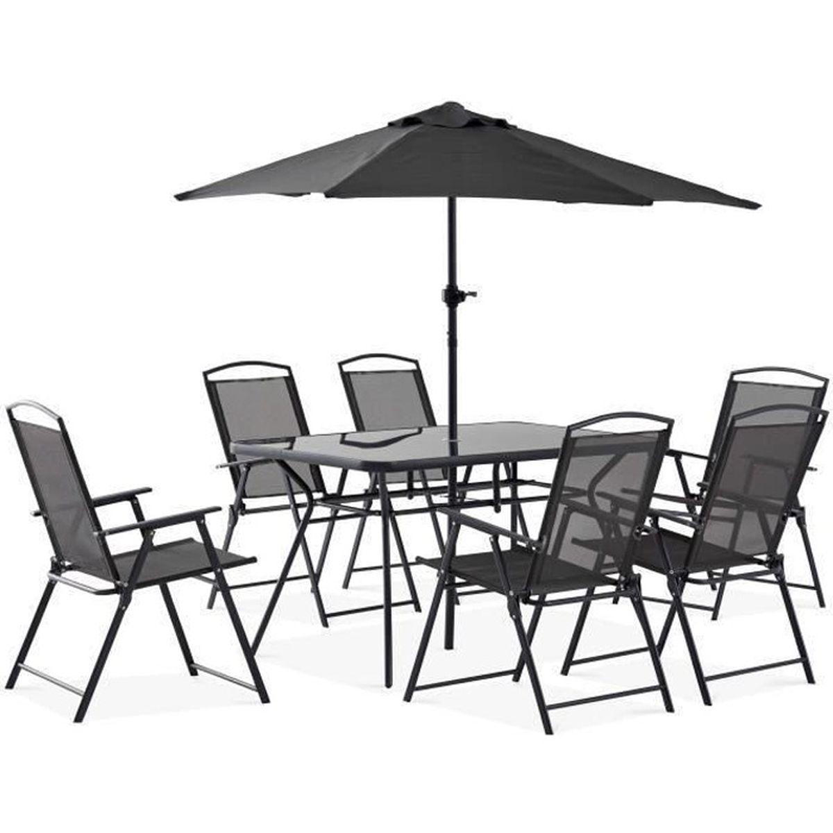 Table de jardin 6 places et parasol - ensemble complet salon ...