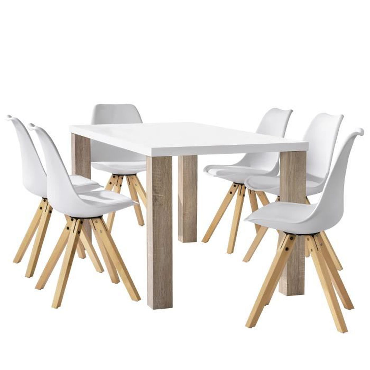 Table manger blanc 6x chaises blanc achat vente for Chaises table a manger