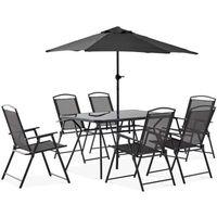 Table et chaises de jardin 6 personnes + parasol