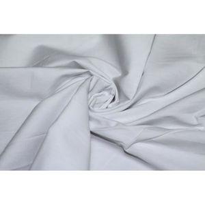 TISSU Tissu Popeline Unie 100%Coton Blanc -Coupon de 3m