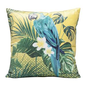 COUSSIN Coussin jungle perroquet bleu 45x45cm Kare Design
