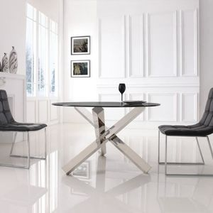 TABLE À MANGER SEULE Table à manger ronde en verre transparent ELIA