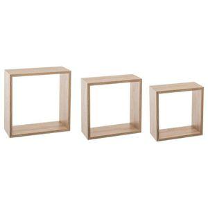 CASIER POUR MEUBLE Kit de 3 étagères murales Cube chêne naturel Autre