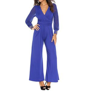 COMBINAISON Combinaison Pantalon Large Femme Sexy Col V Profon