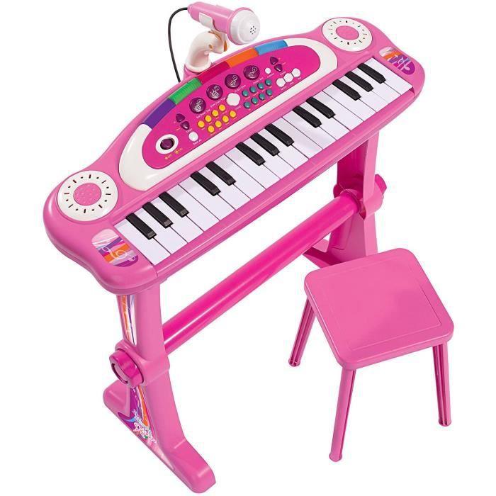 Pianos et claviers pour enfants Simba - 106830690 - Clavier sur Pied - My Music World avec Tabouret - Girls 268055
