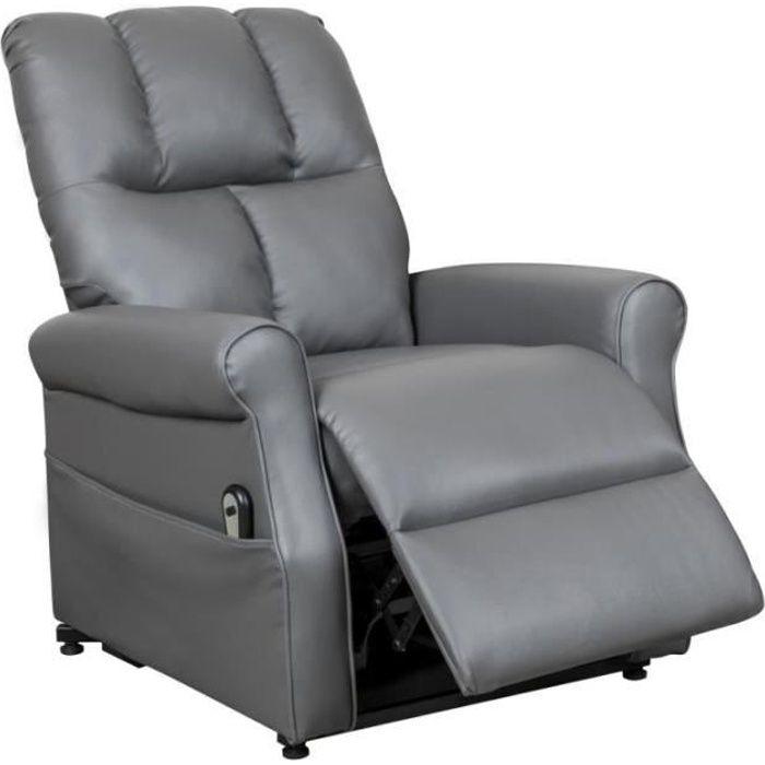 Fauteuil releveur relax gris à commande électrique GORAN