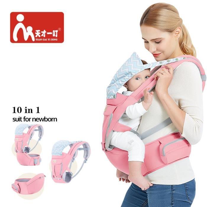 Porte-bébé Kangourou Extérieur Multifonction avec Capuche Sling Sac à dos Infantile Hipseat Réglable Wrap pour Porter des Enfants