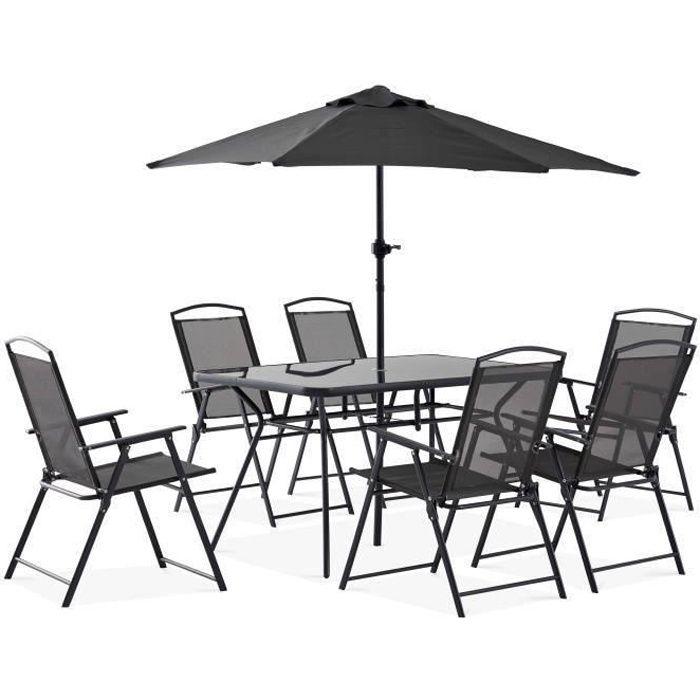 Table de jardin 6 places et parasol - ensemble complet salon de jardin 6 personnes