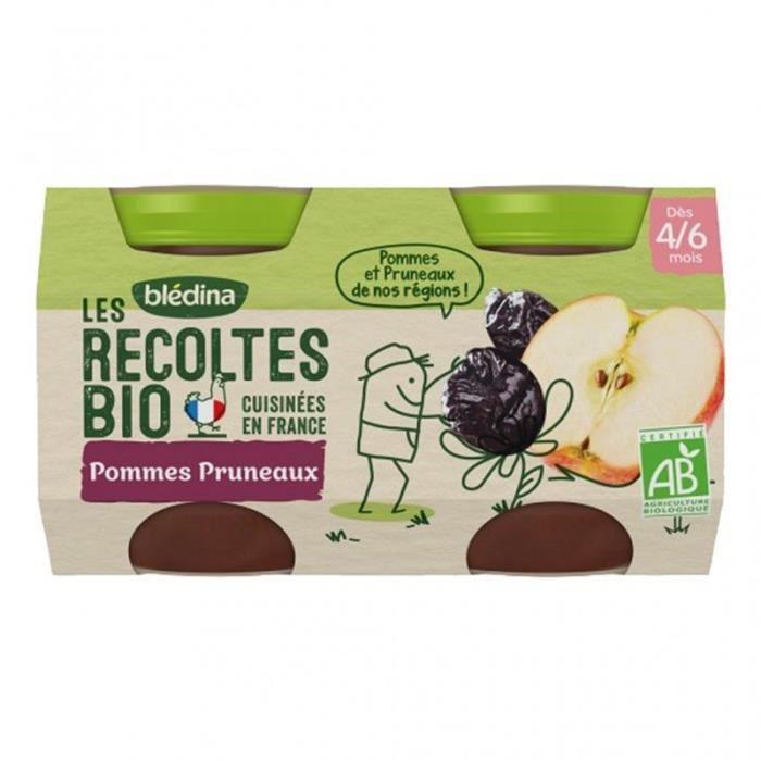 Blédina Les Récoltes Bio Pommes Pruneaux (dès 4/6 mois) par 2 pots de 130g (lot de 8)