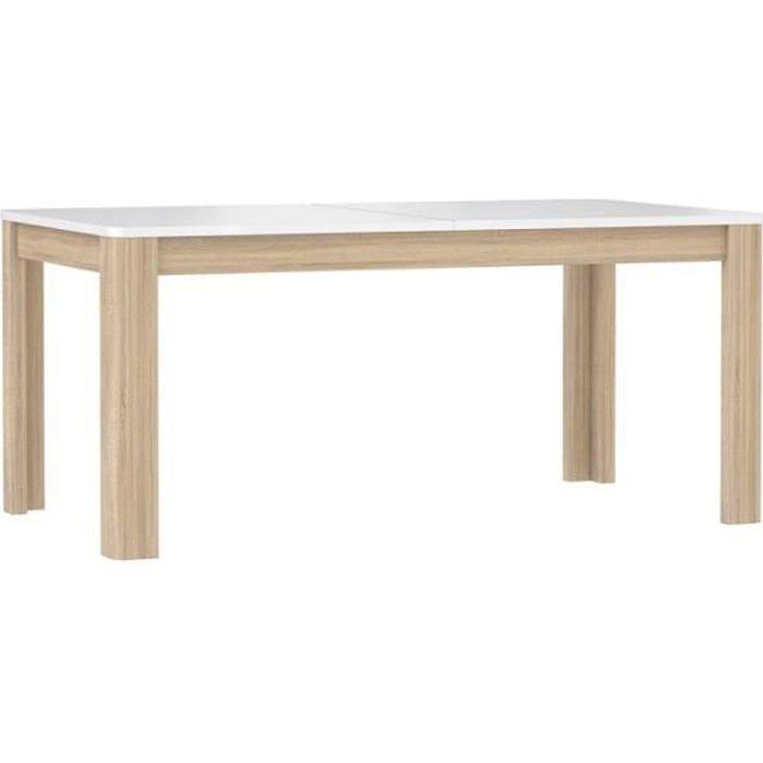 Table de repas extensible 160 cm, plateau blanc laqué et piétement bois naturel - Collection ALEXIANE