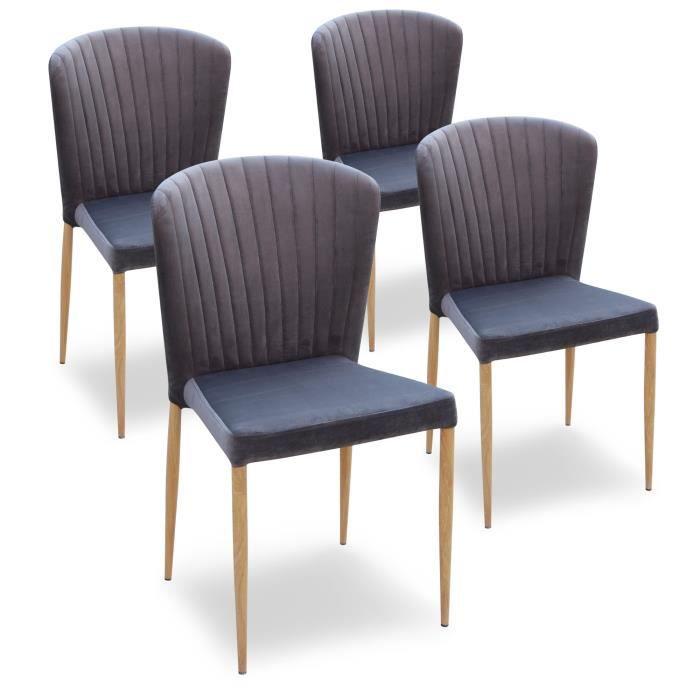 Lot de 4 chaises en velours gris tendance et design