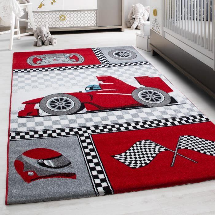 Enfants tapis de voiture de course rapide formule 1 pépinière salle de jeux de chambre de bébé rouge [80x150 cm]