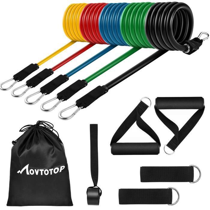 MOVTOTOP 11 pièces bandes de résistance ensemble Kit de formation de Muscles bandes de Fitness d'entraînement avec ancrage de porte