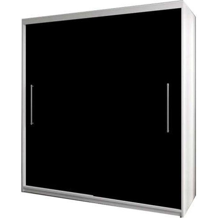 Armoire de chambre avec 2 portes coulissantes - tringle et étagères - Style contemporain - Blanc+Noir - L 204 cm - NICO