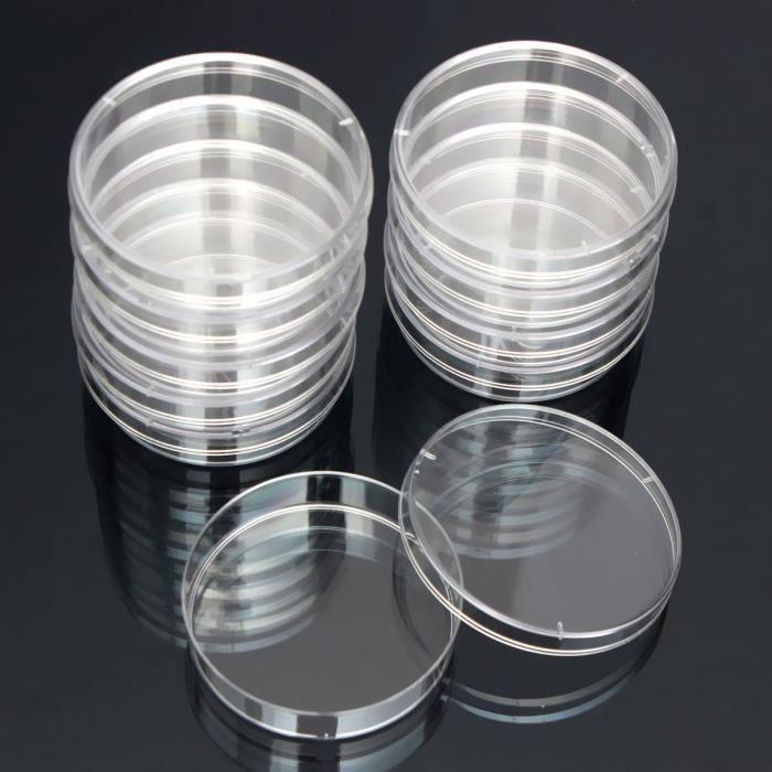 10pcs Bactéries Disque Culture Dish Jetable Stérilisé Boîte de Petri Lab 55x15mm