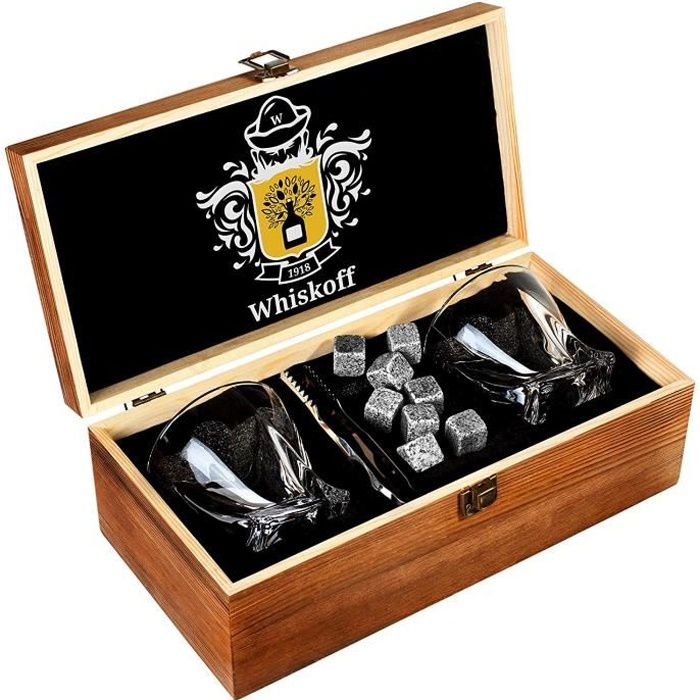 Ensemble de Verres à Whisky de 2 - Coffret Cadeau - Scotch Rocks Pinces, sous-Verres, Pierres de Réfrigération & Verres à Bar - V