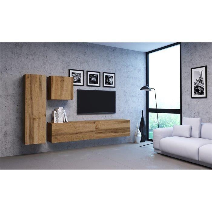VIVIO - Ensemble meubles TV à suspendre salon - 4 éléments - Mur TV avec rangements - Unité murale style moderne - Aspect bois -