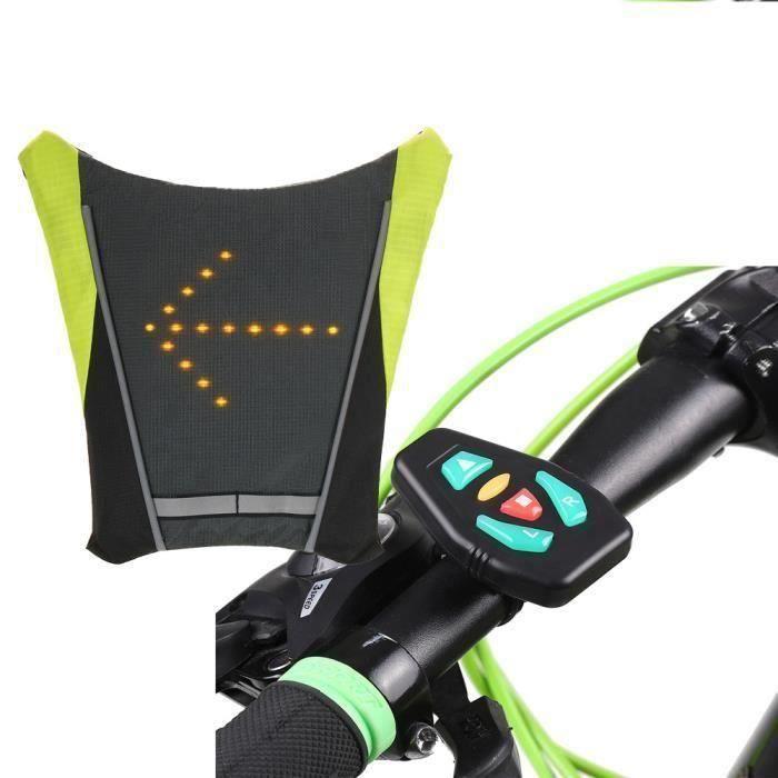 USB vélo vélo réfléchissant gilet vélo sac à dos LED sécurité sans fil tournant signal lumineux gilet pour équitation de nuit guide