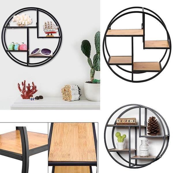 Etagère murale ronde 4 niveaux bois et métal design industriel Étagère Rangement Pour Maison - 37x37x14 cm-GAR
