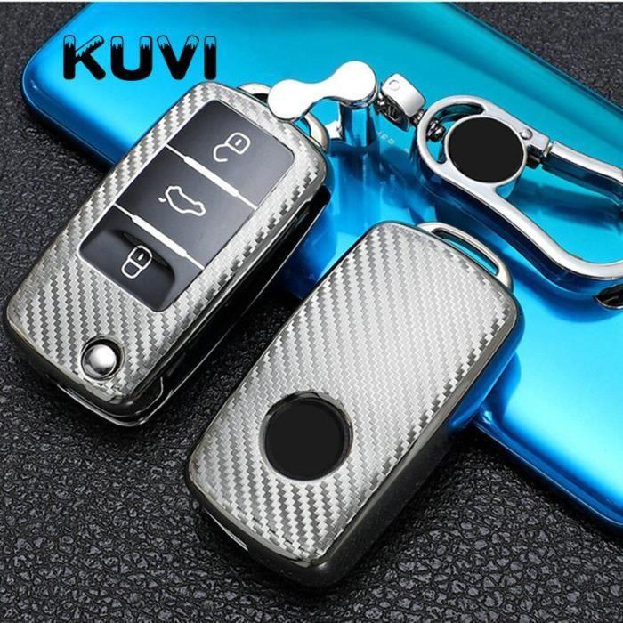 Coque clé,Style de voiture TPU souple etui clés, accessoires pour VW Polo Golf Passat pour Skoda - Type silver with keychain