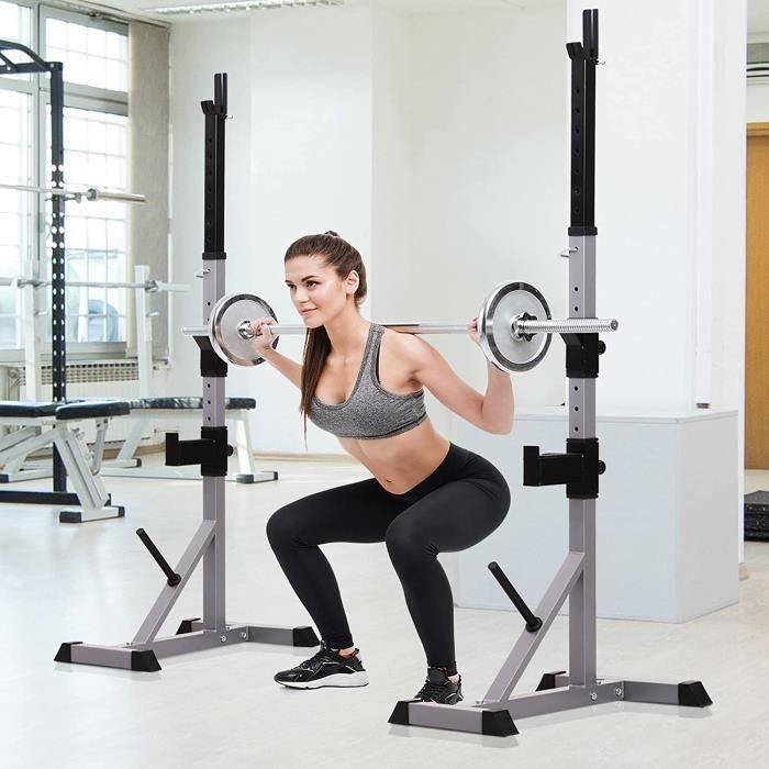 HOMCOM Support de Musculation Entrainement pour Barre dhaltre Hauteur rglable Charge Max. 200 Kg Gris et Noir[15694]