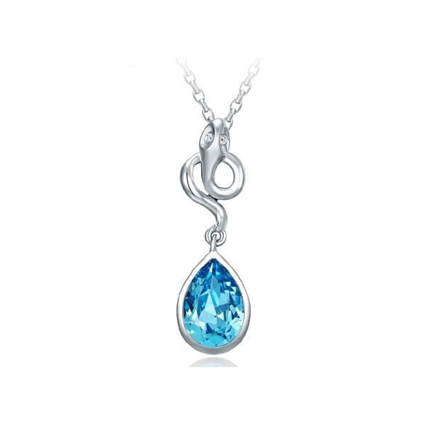 Pendentif Serpent Cristal Swarovski Elements Bleu