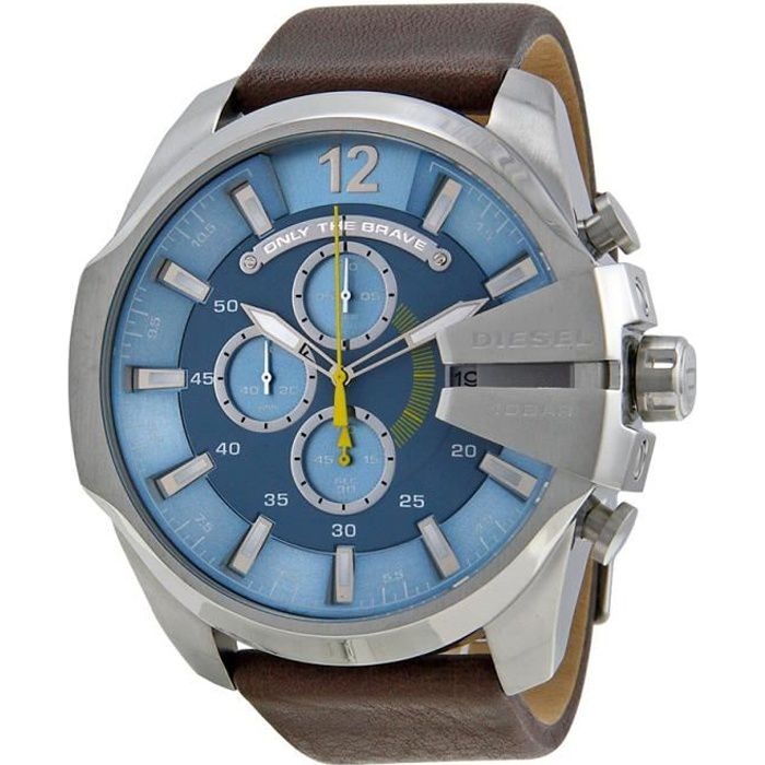 Diesel Montre D'Homme DZ4281 Cadran Bleu Chronographe Bracelet Cuir Marron